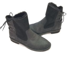 LIKE NEW UGG Black Nubuck/Wool Lined Naiyah Boots